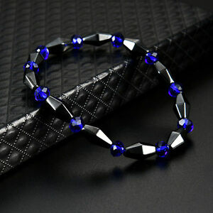 Stretch-Stone-Beaded-Chakra-Hematite-Spot-Healing-Magnetic-Therapy-Bracelet