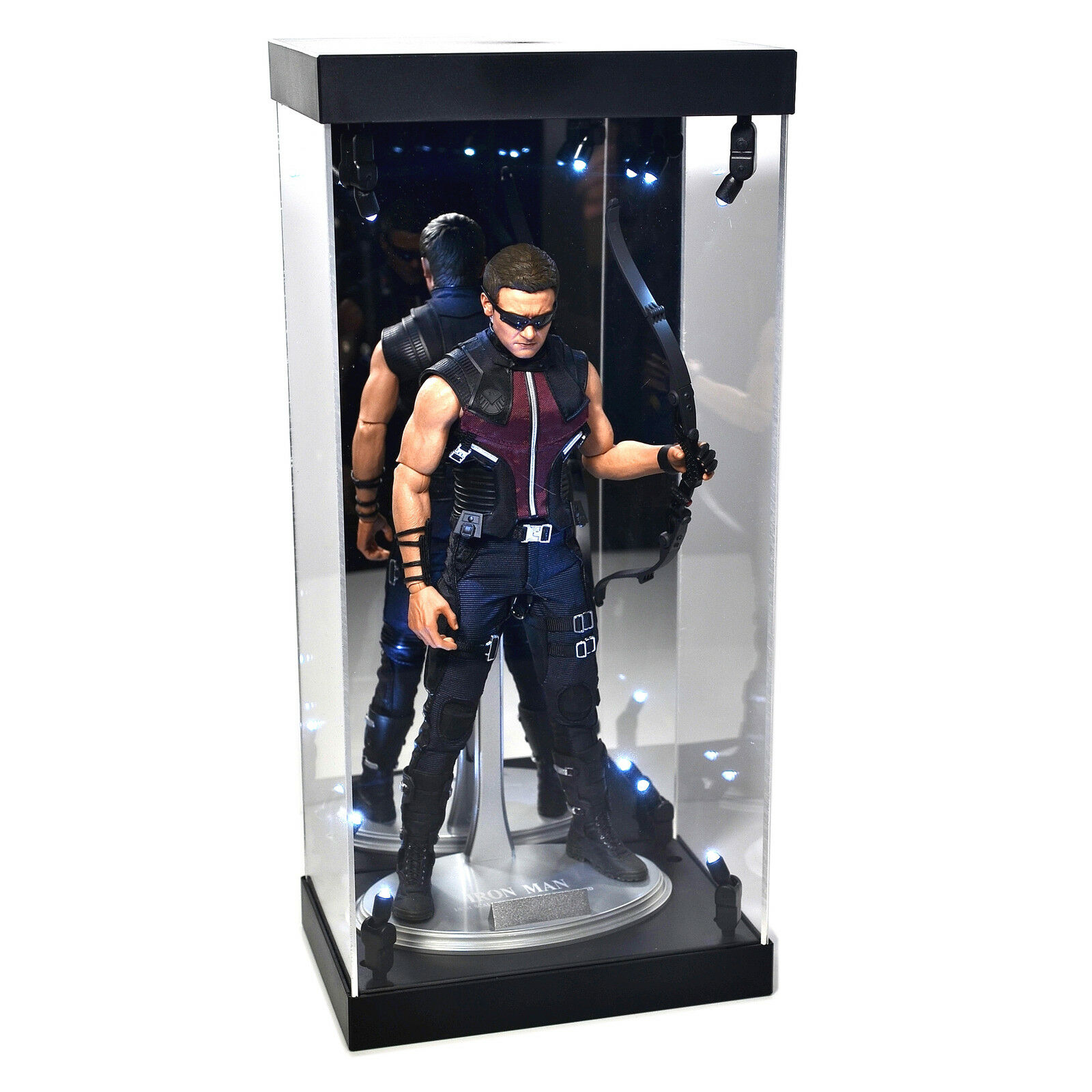 Acrylic Display Case LED Light Box for 12  1 6th Scale Avengers HAWKEYE Figure