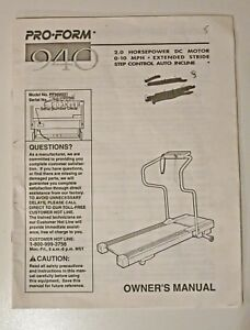 Details about User Owners Manual for Pro-Form 940 Treadmill