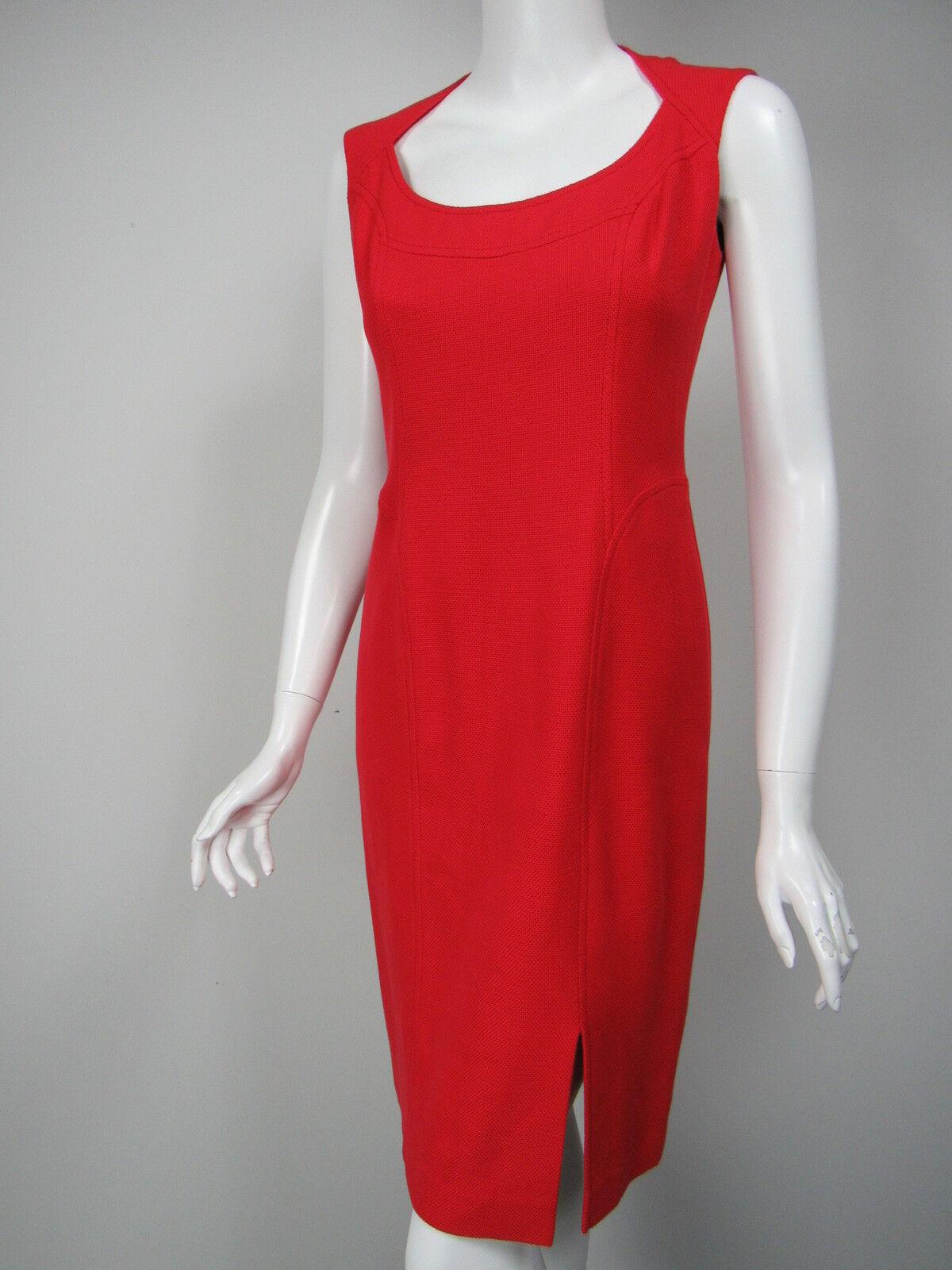 ESCADA Cherry rot Basketweave Cotton Scoop Neck Seam Detail Dress D 36 US 6