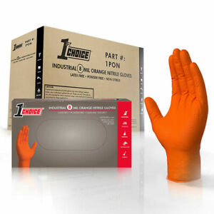 1st Choice Mechanic Latex Free Disposable Orange Nitrile 8 Mil Gloves Non Vinyl