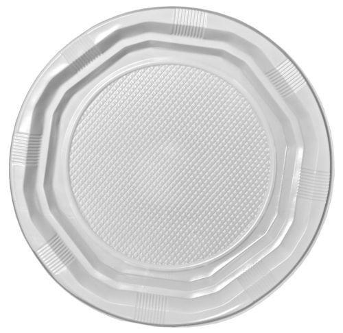"100 Desechables 7 /""de plástico Placas White Party Ware Light Weight High Quality"