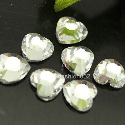 72pcs DMC clear square/triangle/heart hot fix iron on crystal shaped rhinestones