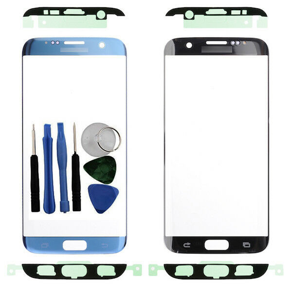 For Samsung Galaxy S7 Edge G935F Front Outer Glass Screen Blue + Adhesive Tools