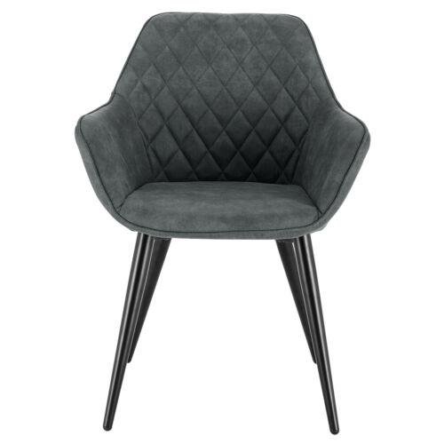1x Küchenstuhl Wohnzimmerstuhl Polsterstuhl Sessel mit Armlehen Grau BH231gr-1