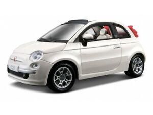 FIAT 500 Cabrio 1:24 SCALA DIECAST MODELLO AUTO giocattolo modelli pressofusi bianco in miniatura