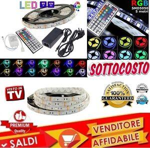 STRISCIA-A-LED-SMD-5050-RGB-5-METRI-BOBINA-ALIMENTATORE-E-TELECOMANDO-44-TASTI
