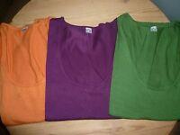 3 x Strickpulli dünn lila orange grün Gr.44/46 v.Happy Size kurzarm fein - Neu