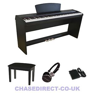 chase p45 digital portable stage piano fully weighted keys wooden keyboard stand ebay. Black Bedroom Furniture Sets. Home Design Ideas