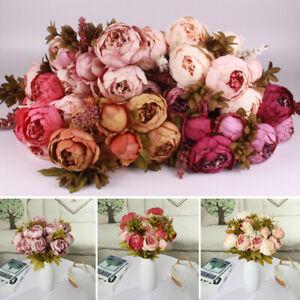 13-stk-Kuenstliche-Silk-Pfingstrose-Rose-Kunstblumen-Hochzeit-Dekor-Blumenstrauss