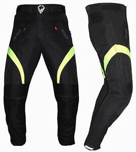 Pantalone-Moto-in-Cordura-Tessuto-Altavisibilita-039-Impermiabile-Termico-Estrabile