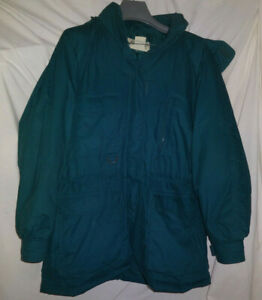 Vintage-Eddie-Bauer-Womens-SnowLine-Goose-Down-Parka-Jacket-Large-Hood-Green