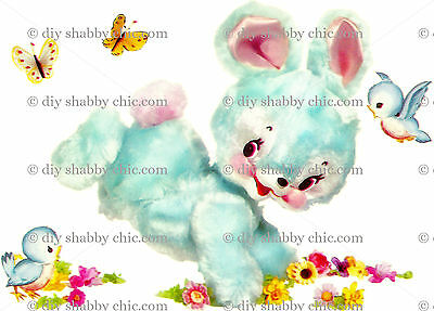 A6 BLUE BUNNY RABBIT CHILDRENS DECAL SHABBY CHIC IMAGE TRANSFER VINTAGE LABELS