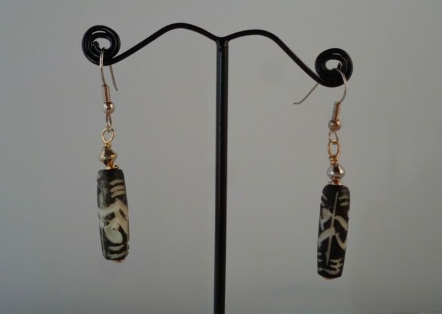 Carved African Beaded Earrings Bone Jewelry