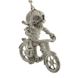 Funny-Creative-Rubber-Skull-Riding-Bike-Charm-Bag-KeyChain-Key-Fob-Gift
