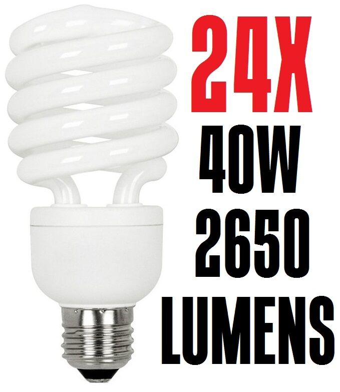 24x Warm White Spiral Fluorescent Light Bulb 40W CFL T4 SSL40-T4 2700K Sun&Stars