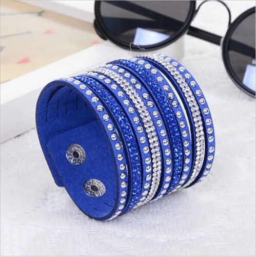 Men-Women-Fashion-Punk-Jewelry-Leather-Crystal-Wrap-Cuff-Bangle-Charm-Bracelet