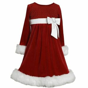 Bonnie Jean Baby Girls Velvet Santa Christmas Bow Fur Red