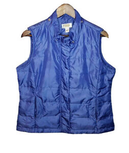 Talbots-Womens-Medium-Petite-Down-Puffer-Vest-Full-Zip-No-Hood-Pockets-Blue