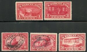 UNITED-STATES-PARCEL-POST-LOT-OF-TWO-STAMPS-LIGHT-HINGED-amp-THREE-USED-STAMPS
