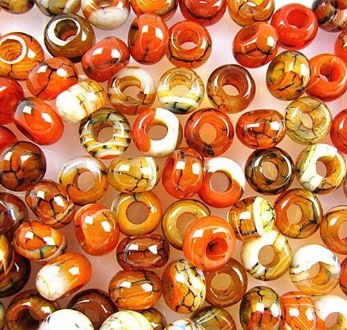 50PCS Beautiful black orange dragon veins agate large hole beads Vk3514 5