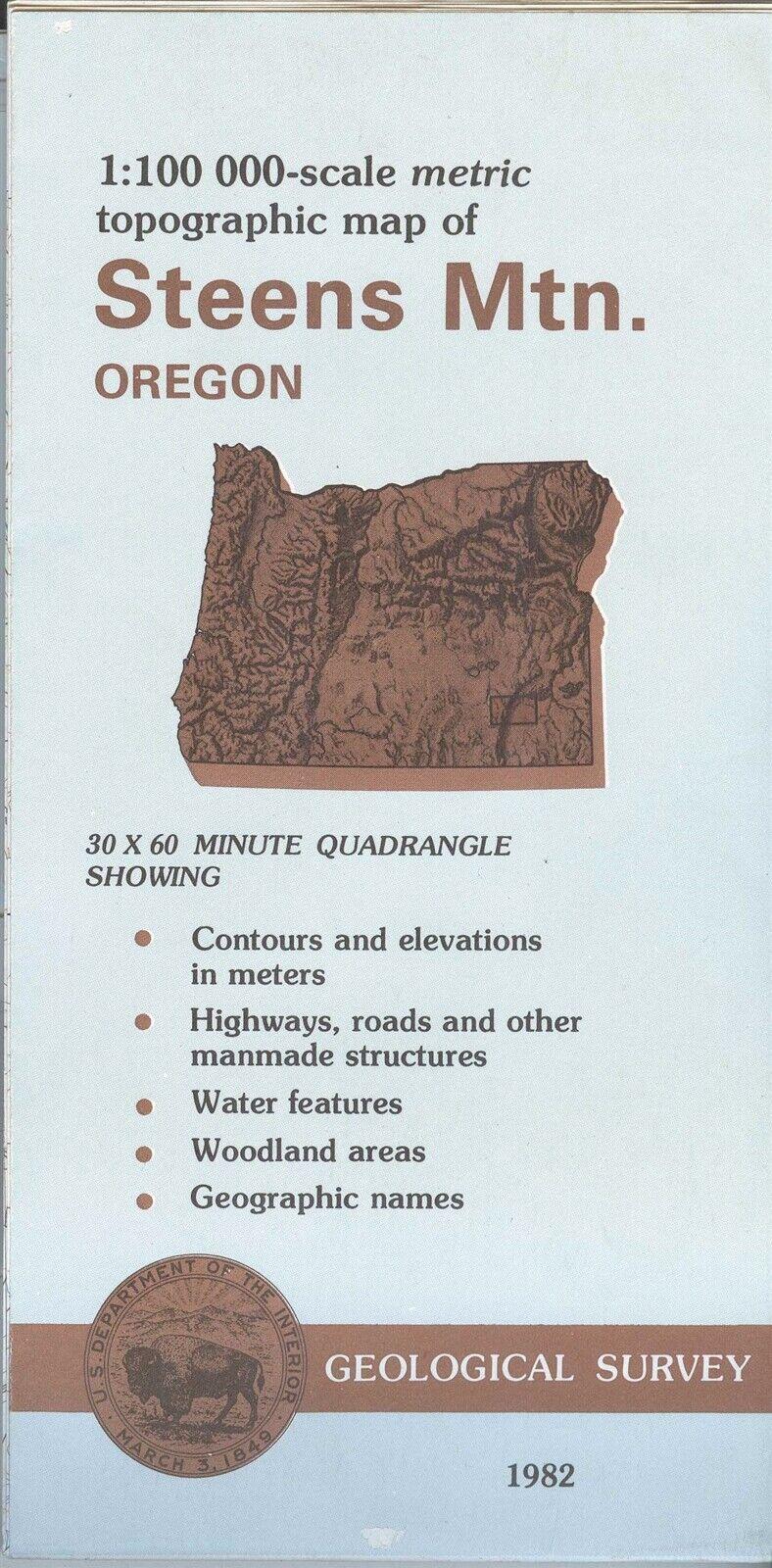 USGS Topographic Map STEENS MOUNTAIN Oregon 1982-100K