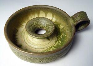 Studio-Pottery-Candle-Holder-Drip-Glaze-Signed