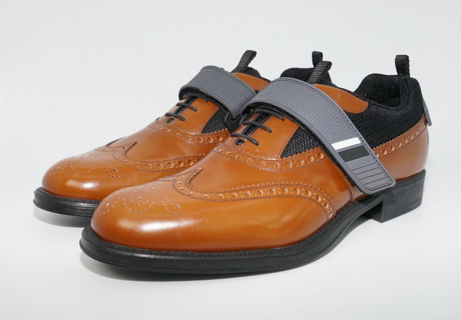 Prada Men's Runway Hybrid Strap Leather Brogue Wingtip Oxfords, Marronee, MSRP  820