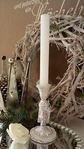 Kerzenstaender-Kerzenleuchter-Kerzenhalter-weiss-Gusseisen-Shabby-Vintage-15cm