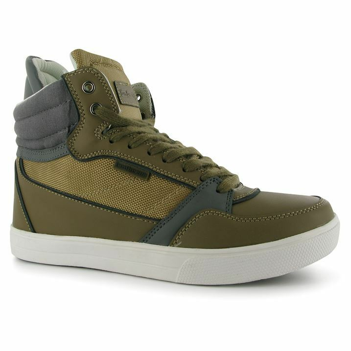 NEW Lambretta Ice Sz UK 10 Sand/Khaki Faux Faux Sand/Khaki Leather Lace Up Boots Hi Top Trainers 8461f7