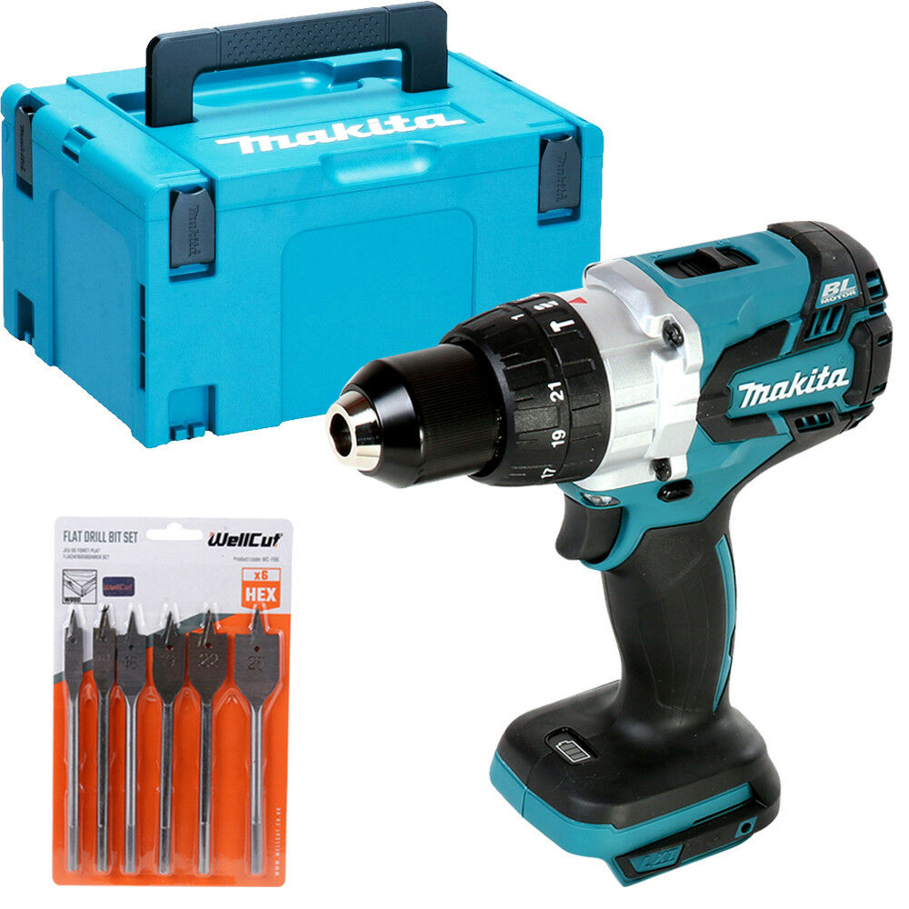 Makita DHP481 18v Brushless Combi Drill With Case & 6 Piece Flat Drill Bit Set