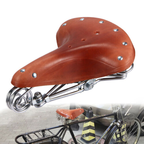 Vintage Classic Brown Genuine Leather Bicycle Cycling Saddle Seat Comfortable US