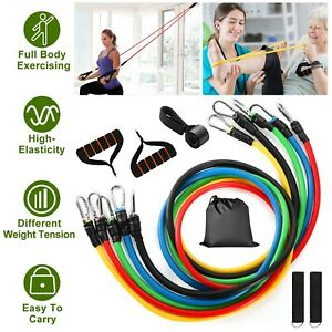 11-PCS-Set-Resistance-Band-Yoga-Pilates-Abs-Exercise-Fitness-Tube-Workout-Bands