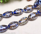 5pcs 24x18mm Lampwork Glass Oval Jewelry Findings Loose Spacer Beads Royal Blue