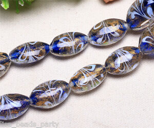 5pcs-24x18mm-Lampwork-Glass-Oval-Jewelry-Findings-Loose-Spacer-Beads-Royal-Blue