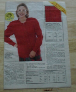 LADIES-RED-ARAN-STYLE-CARDIGAN-D-K-10-PAGE-KNITTING-PATTERN-PULL-OUT