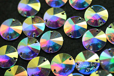 Acrylic beads Round AB Faceted Point Front Sew On Flat Back Jewels