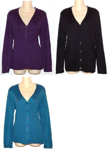 Croft /& Barrow Purple Black or Blue V-Neck Ribbed Cardigan Sweater Womens M L