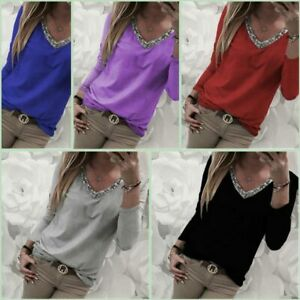 Loose-T-Shirt-Tops-Pullover-Casual-V-Neck-Long-Sleeve-Womens-Jumper-Solid