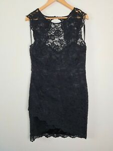 FOREVER-NEW-Black-Lace-Cocktail-Party-Dress-Women-039-s-Size-16-Sleeveless-High-Neck