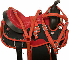 WESTERN PLEASURE TRAIL BARREL HORSE BLACK RED SYNTHETIC SADDLE TACK 14 15 16 17