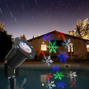 Projecteur led flocons de neige 4 couleurs lumi re de no l ext rieur 110 220v ebay for Lumiere noel exterieur projecteur