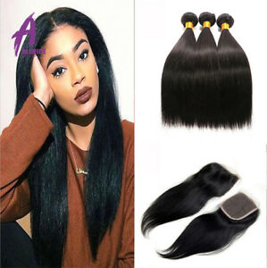 8A-Brazilian-Straight-3Bundles-With-4-4Lace-Closure-Virgin-Human-Hair-Extensions