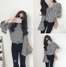 Hot Sale!  Korean Women Striped Trumpet Sleeves Coat Long Sleeve T-shirt