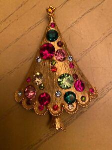 Vintage Christmas Multi Colored Rhinestones Tree Brooch Pin