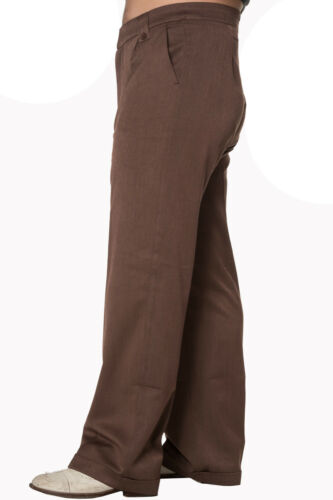 1940s UK and Europe Men's Clothing – WW2, Swing Dance, Goodwin    Mens Classic Vintage style WW2 Wartime 1930s 1940s Brown Trousers  £34.99 AT vintagedancer.com