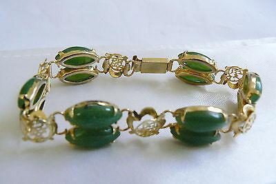 Gold Tone Metal Oriental Filigree pattern Green Genuine Jade stone link bracelet