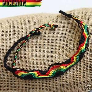 "Rasta Friendship Rope Wrist Bracelet 100% Cotton Reggae Marley Irie Jamaica 11"""