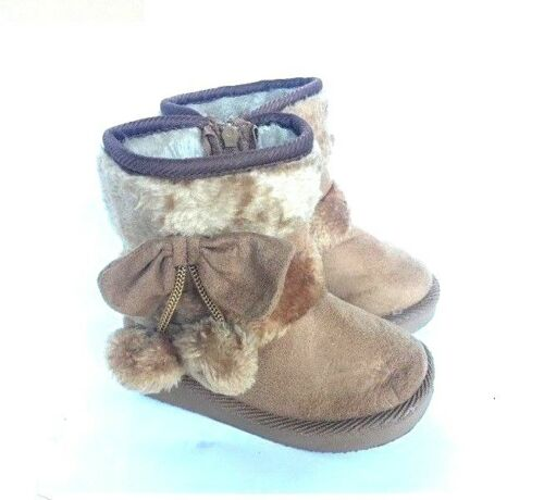 WARM BABY GIRL TODDLER KIDS WINTER BOOTS FUR FAUX SHOES ZIPPER SIDE COLORS