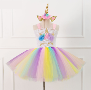 Flower Girls Unicorn Tutu Dress Princess Girls Birthday Party Dress ZG9